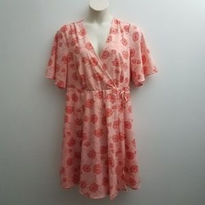 Torrid Faux Wrap Dress 16 Pink Coral Floral V-neck